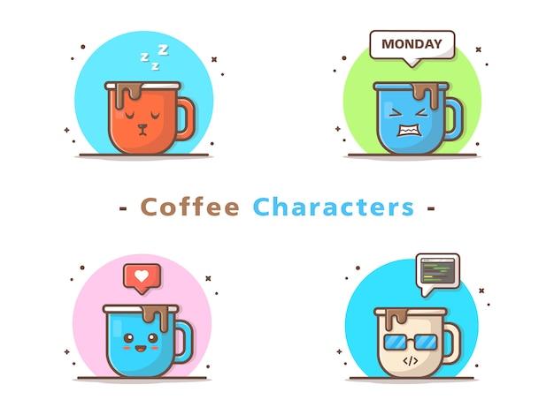 Personaggi simpatici caffè Vettore Premium