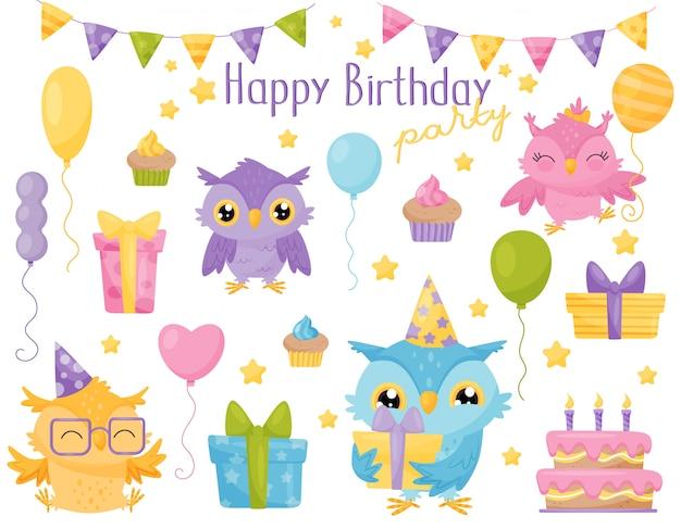 Simpatiche civette colorate, elementi di design per la festa di compleanno possono essere utilizzati per biglietti d'auguri, inviti, adesivi, stampe illustrazione Vettore Premium