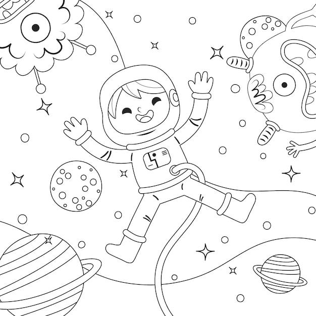 Simpatico design da colorare per bambini Vettore Premium