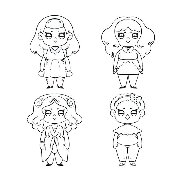 Colorazione carina per bambini con ragazza in costume Vettore Premium