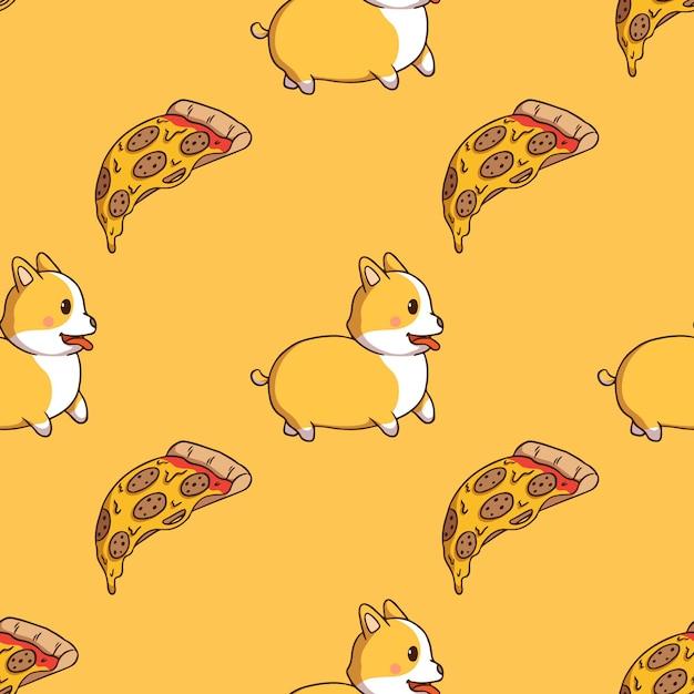 Carino corgi e fetta di pizza in seamless con stile doodle su sfondo giallo Vettore Premium