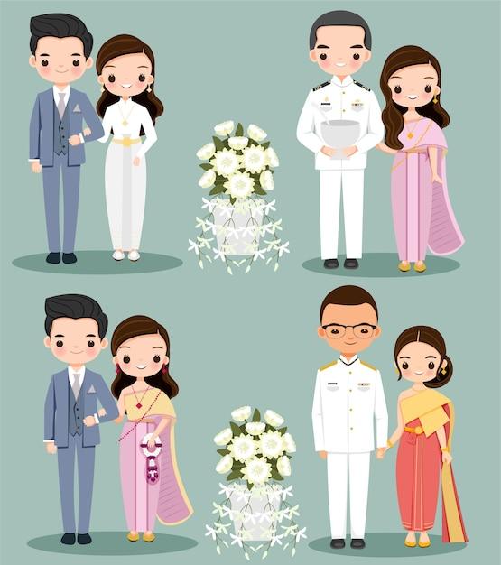 Abito intradizionale coppia carina per carta di invito a nozze Vettore Premium