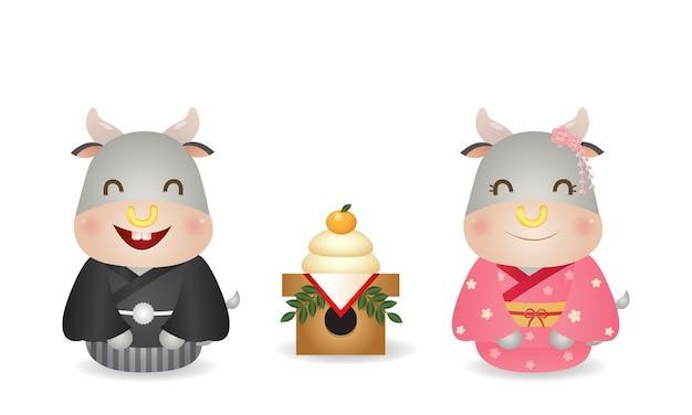 Coppia carina bue in costume kimono giapponese festeggia il nuovo anno con kagamimochi. vettore di celebrazione del nuovo anno del giappone isolato nel bianco. Vettore Premium