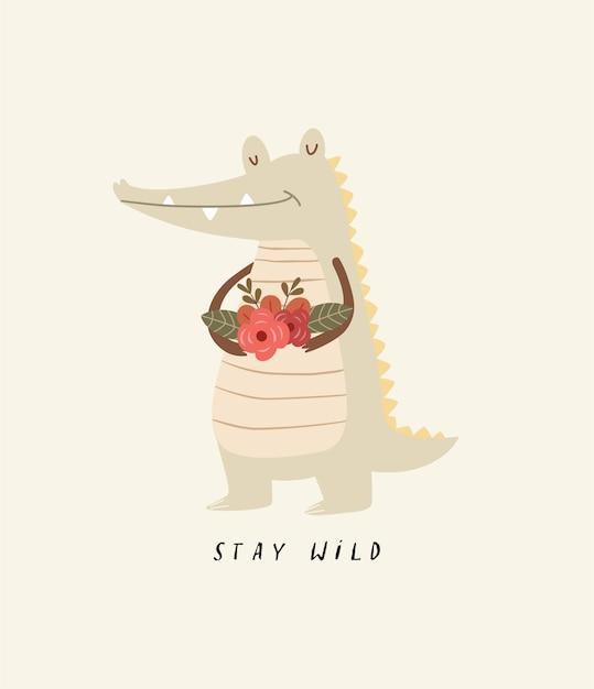 Illustrazione di coccodrillo carino Vettore Premium