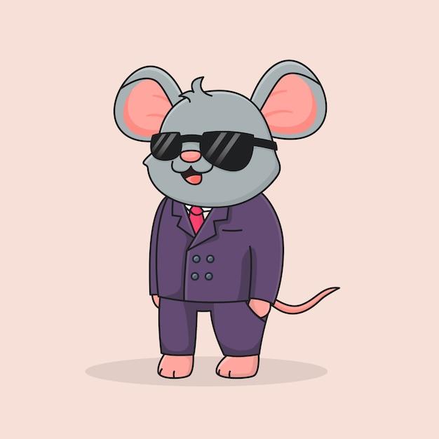 Simpatico topo detective con gli occhiali neri Vettore Premium