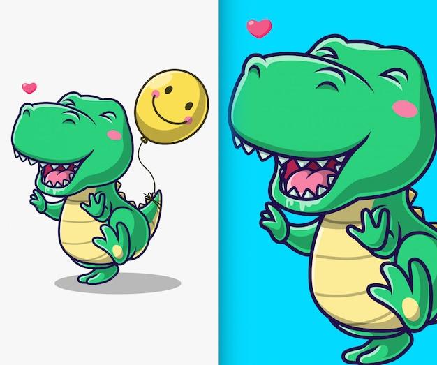 Dinosauro carino giocare con palloncino. personaggio dei cartoni animati della mascotte del dinosauro. Vettore Premium