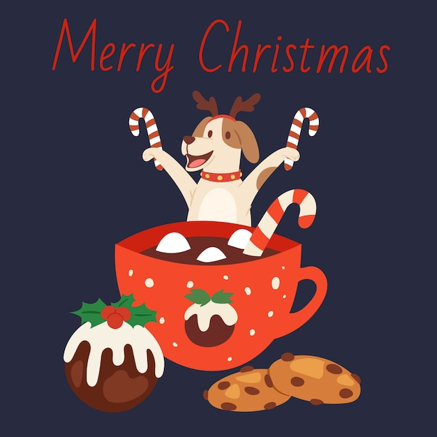Cane sveglio nei corni della renna di natale con la tazza di cioccolato, il dolce di vacanze invernali e l'illustrazione delle caramelle. merry christmas card. Vettore Premium