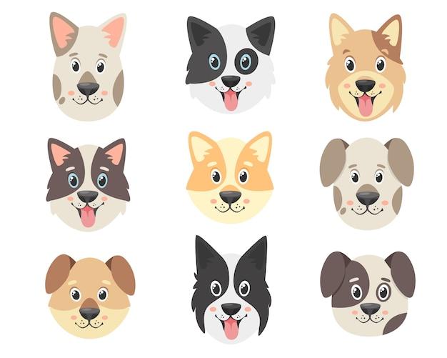 Collezione di cani carini. facce di cani. Vettore Premium