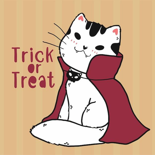 Carino doodle gatto vampiro custume dolcetto o scherzetto halloween arte, idea per biglietto di auguri, carta stampabile, arte della parete, sublimazione, adesivo cricut Vettore Premium