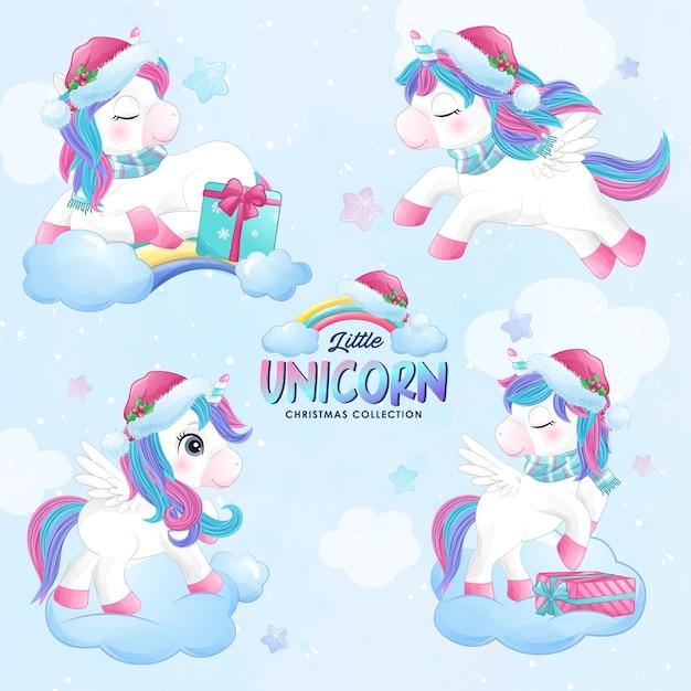 Unicorno di natale carino doodle impostato nello stile dell'acquerello Vettore Premium