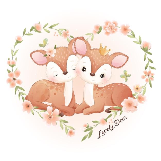 Cervi di doodle carino con illustrazione floreale Vettore Premium