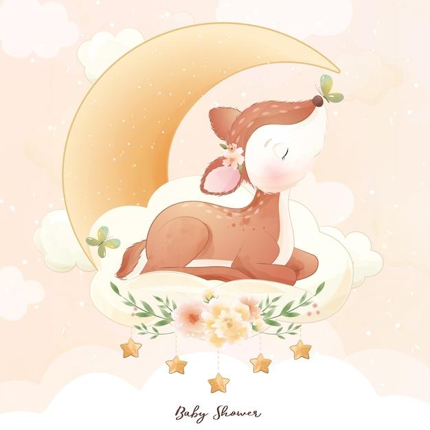 Cervi di doodle carino con illustrazione dell'acquerello Vettore Premium