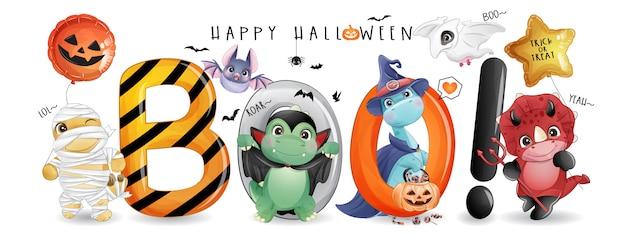 Dinosauro carino doodle per il giorno di halloween con illustrazione dell'acquerello Vettore Premium