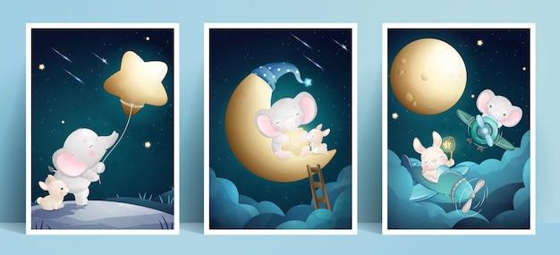 Elefante e coniglietto sveglio di doodle con la raccolta della struttura Vettore Premium