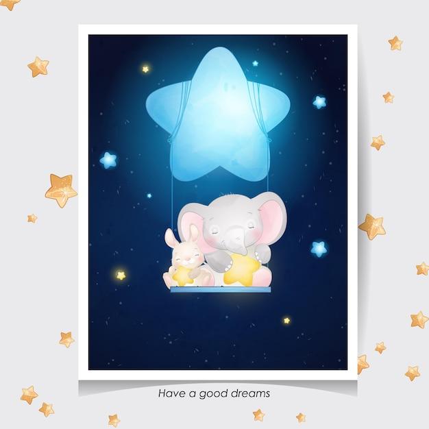 Elefante sveglio di doodle e coniglietto con illustrazione dell'acquerello Vettore Premium