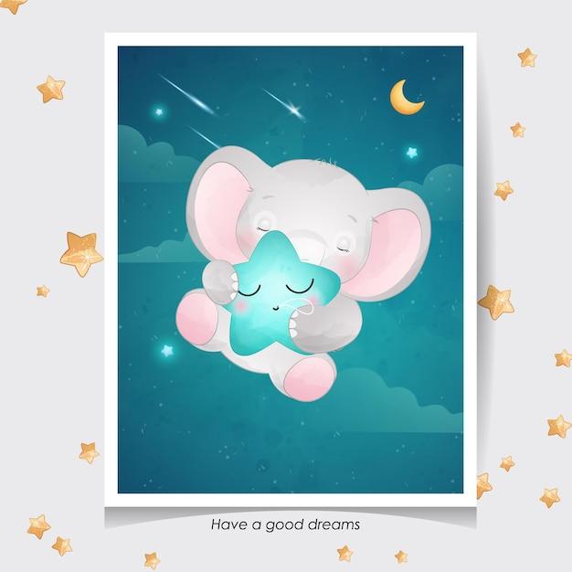 Elefante sveglio di doodle con l'illustrazione dell'acquerello Vettore Premium