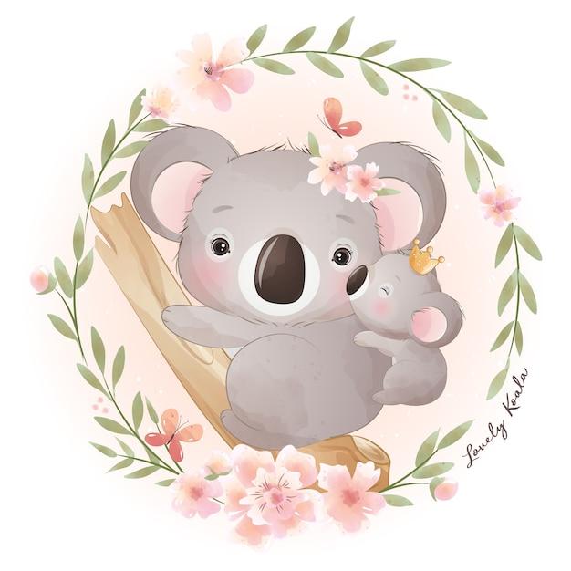 Orso di koala sveglio di doodle con illustrazione floreale Vettore Premium