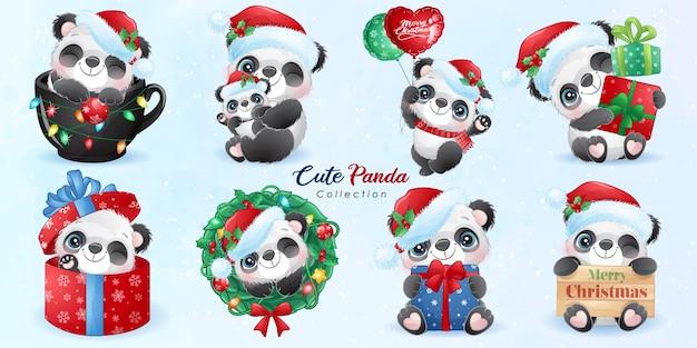 Panda sveglio di doodle impostato per il giorno di natale con l'illustrazione dell'acquerello Vettore Premium