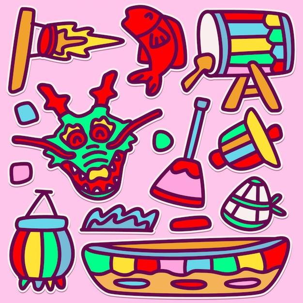 Dragon boat doodle design illustration sveglio Vettore Premium