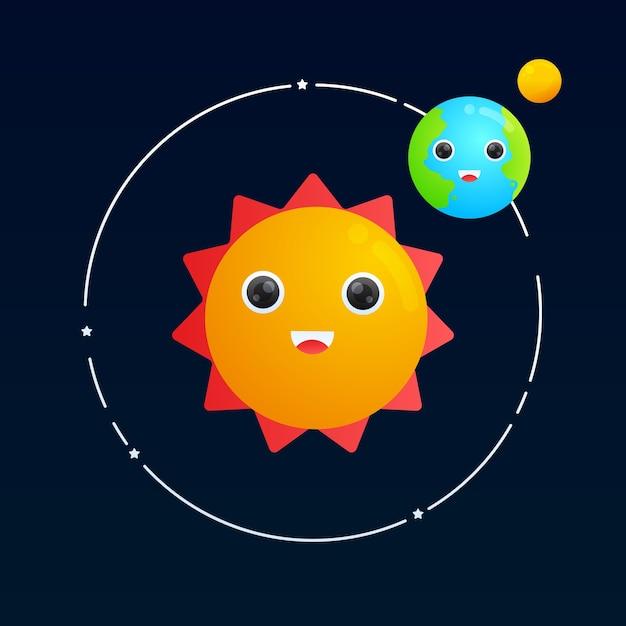Carino la terra e la luna in orbita intorno al sole illustrazione gradiente Vettore Premium