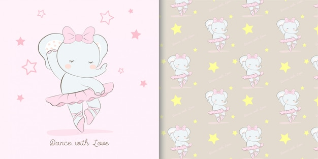 Illustrazione e modello svegli del fumetto della ballerina dell'elefante Vettore Premium