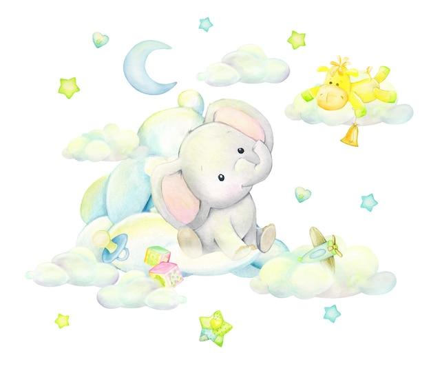 Elefante sveglio che dorme tra le nuvole, sullo sfondo della luna, farfalle, stelle, in stile cartone animato. clipart ad acquerello su uno sfondo isolato. Vettore Premium