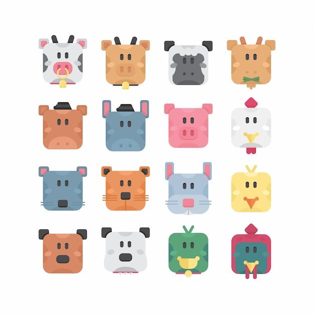Simpatici animali da fattoria con forma quadrata di base Vettore Premium