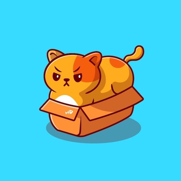 Simpatico gatto grasso nella casella icona del fumetto illustrazione. concetto dell'icona di amore animale isolato. stile cartone animato piatto Vettore Premium