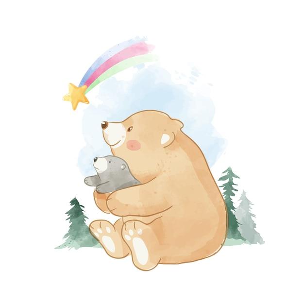 Carino, padre, e, orso sole, seduta, in, il, selvaggio, illustrazione Vettore Premium