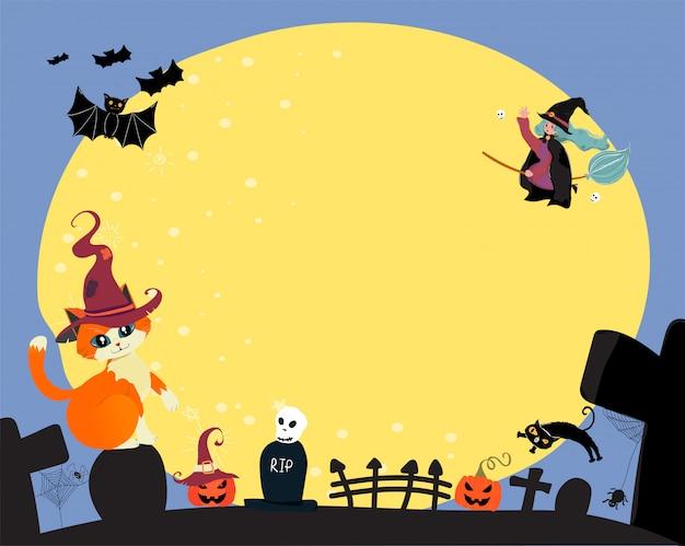 Carino piatto vettoriale felice halloween una strega cavalcare una fioritura magica, sorvolando la luna piena con gatto e pipistrello, copia spazio per il testo Vettore Premium