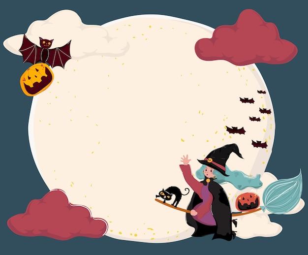 Carino piatto vettoriale una strega cavalcare una scopa, sorvolando la luna piena con gatto e pipistrello Vettore Premium