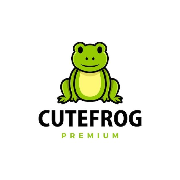 Illustrazione sveglia dell'icona di logo del fumetto della rana Vettore Premium