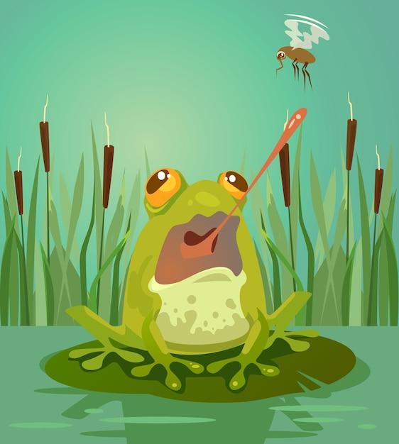 Carattere carino rana caccia alle zanzare. illustrazione di cartone animato piatto vettoriale Vettore Premium