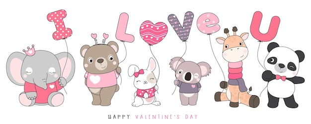 Simpatici animali divertenti di doodle per l'illustrazione di san valentino Vettore Premium