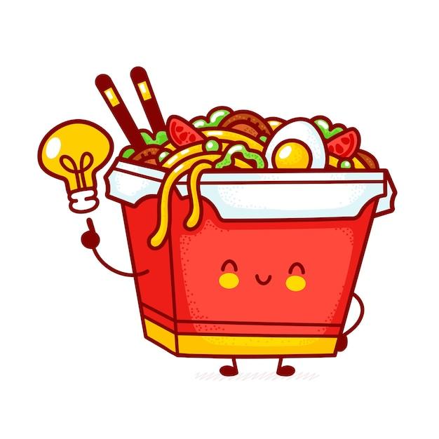 Carattere di scatola di noodle felice divertente carino wok con lampadina idea Vettore Premium
