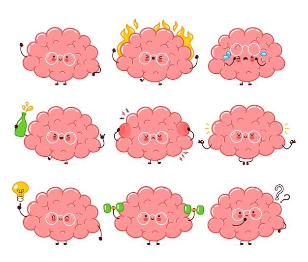 Carattere di organo del cervello umano divertente carino Vettore Premium