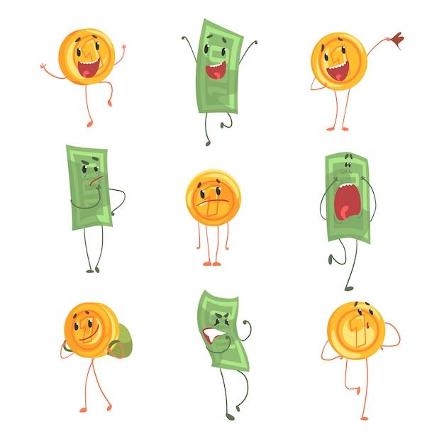Le banconote e le monete umanizzate divertenti sveglie che mostrano le emozioni differenti hanno messo delle illustrazioni variopinte dei caratteri Vettore Premium