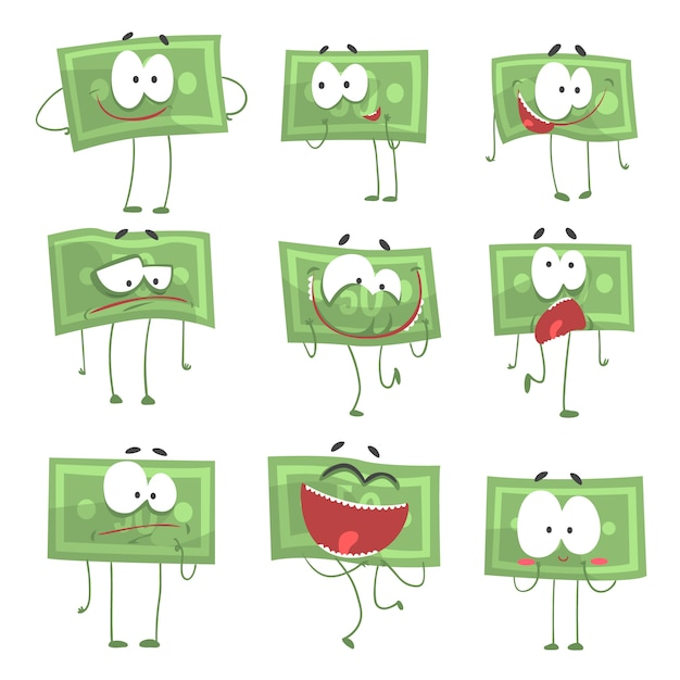 Le banconote umanizzate divertenti sveglie che mostrano le emozioni differenti hanno messo delle illustrazioni variopinte dei caratteri Vettore Premium