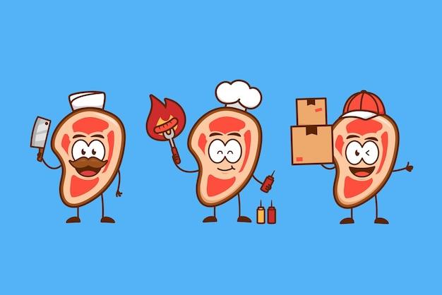 Attività di mascotte personaggio dei cartoni animati carino bistecca di carne cruda divertente impostato come macellaio, chef, chef barbecue e corriere del servizio di consegna Vettore Premium