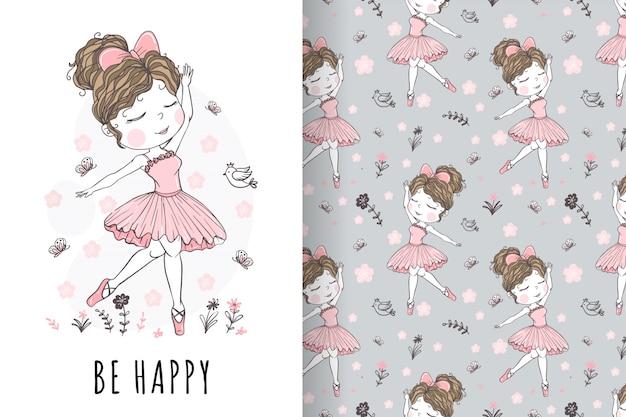 Illustrazione e modello disegnati a mano della ballerina della ragazza carina Vettore Premium