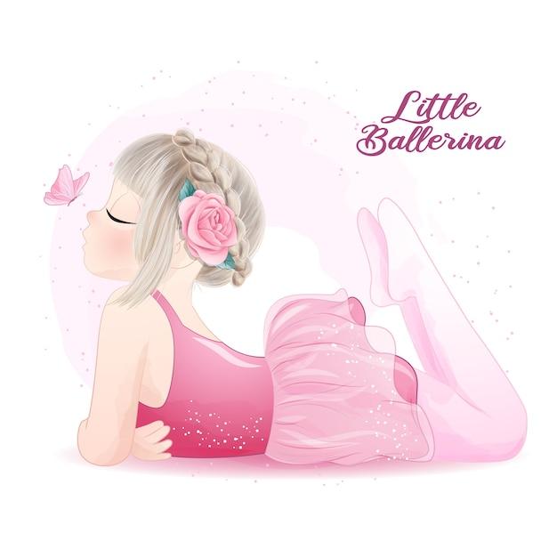 Ballerina ragazza carina con illustrazione dell'acquerello Vettore Premium