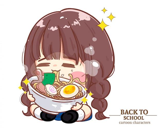 Le uniformi degli studenti dei bambini della ragazza carina mangiano le tagliatelle a scuola. illustrazione del fumetto vettore premium Vettore Premium