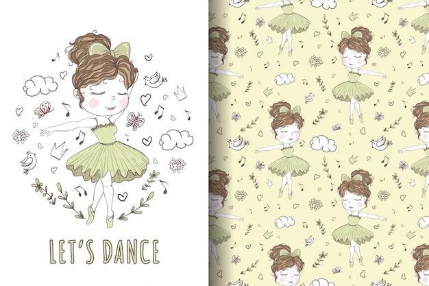 Modello e illustrazione disegnata a mano di balletto di danza della ragazza sveglia Vettore Premium