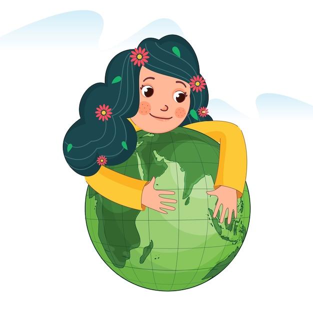 Ragazza carina che abbraccia il globo verde su sfondo bianco. Vettore Premium