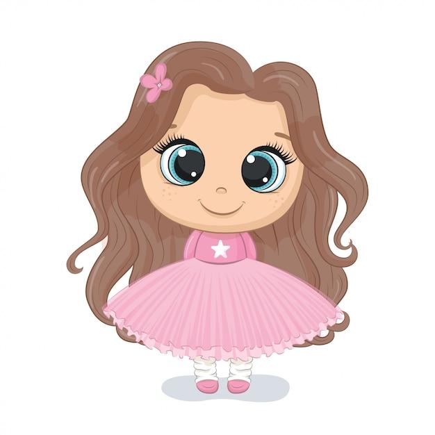 Illustrazione di ragazza carina illustrazione per baby shower, biglietto di auguri, invito a una festa, stampa di t-shirt vestiti di moda. Vettore Premium