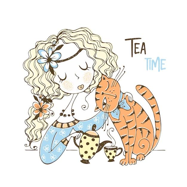 Una ragazza carina sta bevendo il tè con il suo gatto domestico. Vettore Premium