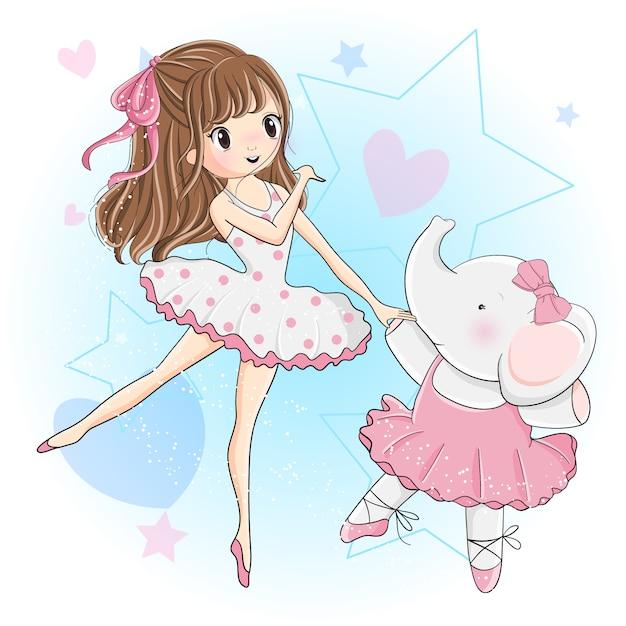 La ragazza sveglia e il piccolo elefante stanno ballando il balletto Vettore Premium