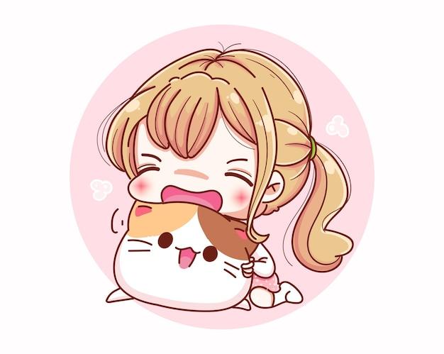 Ragazza carina amore gatto e design dei personaggi dei cartoni animati. Vettore Premium