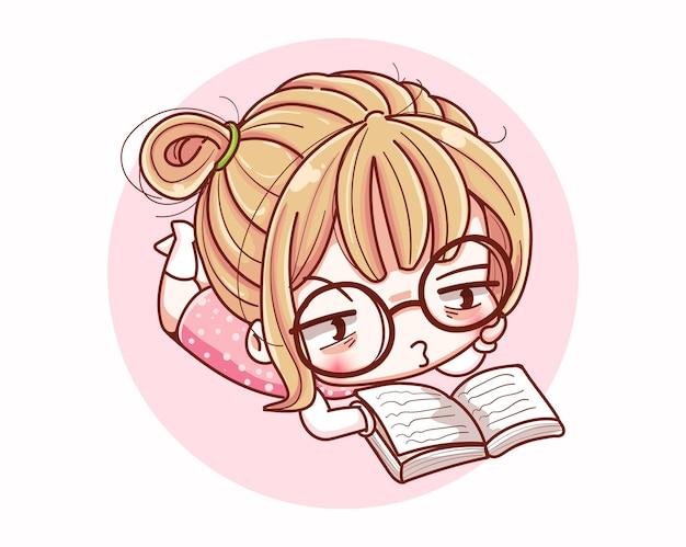 Ragazza carina che legge un libro e un disegno del personaggio dei cartoni animati. Vettore Premium