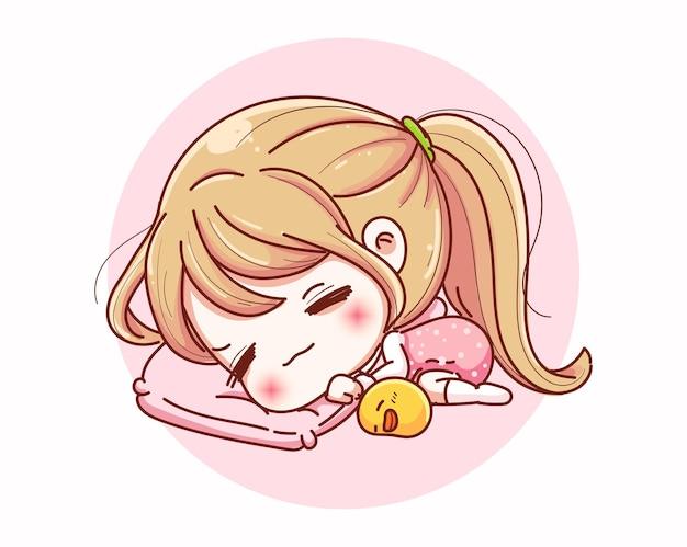 Ragazza carina che dorme con design personaggio felice e dei cartoni animati. Vettore Premium